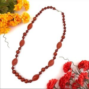 Vintage Lucite Brown Bead Necklace